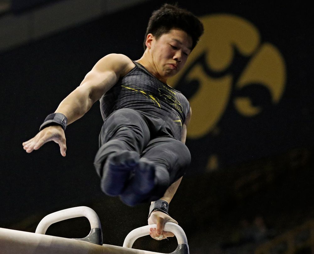 Iowa's Bennet Huang competes in the pommel during the first day of the Big Ten Men's Gymnastics Championships at Carver-Hawkeye Arena in Iowa City on Friday, Apr. 5, 2019. (Stephen Mally/hawkeyesports.com)