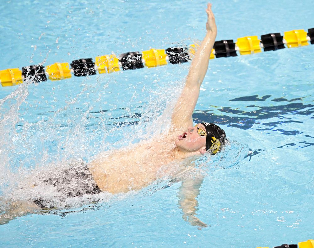 Iowa's John Colin swims the men's 50 yard backstroke event during their meet at the Campus Recreation and Wellness Center in Iowa City on Friday, February 7, 2020. (Stephen Mally/hawkeyesports.com)