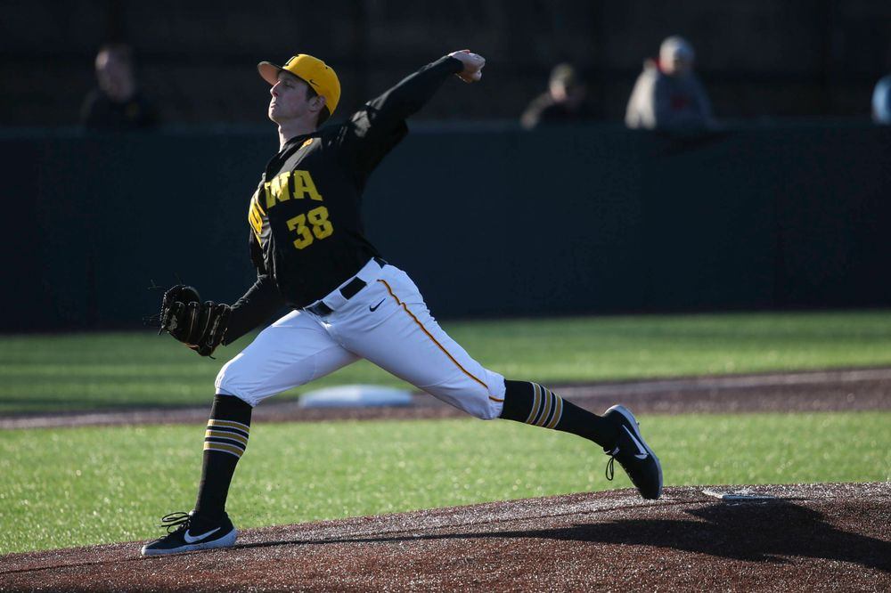 Iowa pitcher Trenton Wallace at the game vs. Bradley on Tuesday, March 26, 2019 at (place). (Lily Smith/hawkeyesports.com)