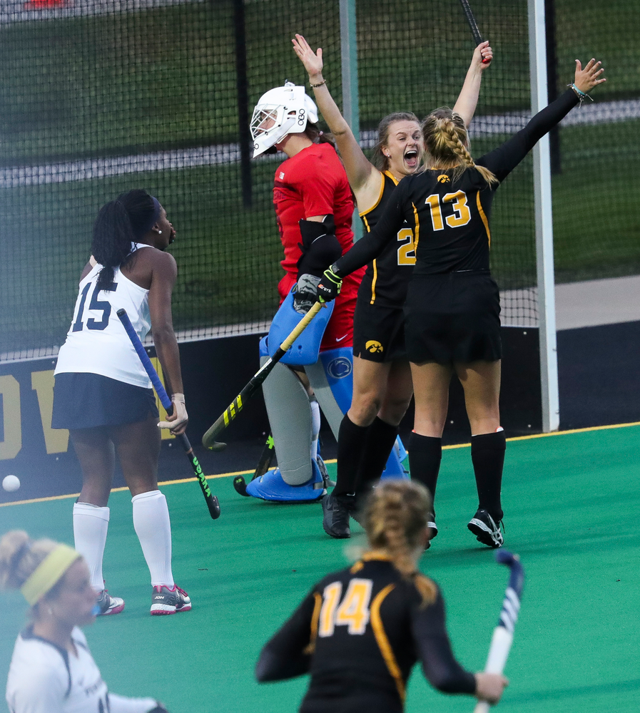 Iowa Hawkeyes forward Madeleine Murphy (26) celebrates after scoring her second goal during a game against No. 6 Penn State at Grant Field on October 12, 2018. (Tork Mason/hawkeyesports.com)