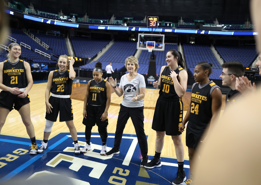 Iowa Hawkeyes head coach Lisa Bluder during shoot around before their regional final against the Baylor Lady Bears in the 2019 NCAA Women's College Basketball Tournament Monday, April 1, 2019 at Greensboro Coliseum in Greensboro, NC.(Brian Ray/hawkeyesports.com)