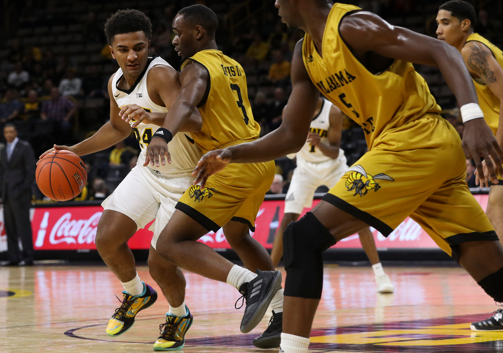 Iowa Hawkeyes guard Nicolas Hobbs (24) drives to the basket during a game against Alabama State at Carver-Hawkeye Arena on November 21, 2018. (Tork Mason/hawkeyesports.com)