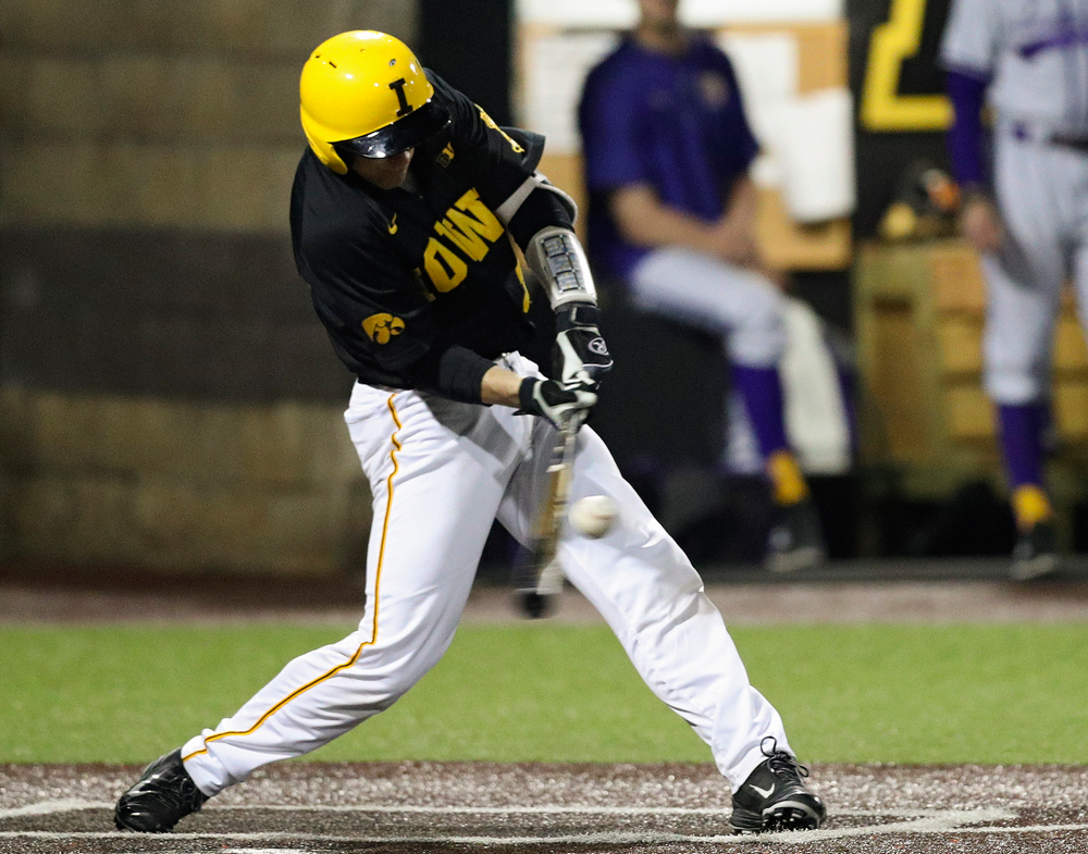 Iowa Hawkeyes catcher Austin Martin (34) gets a hit during the eighth inning of their game against Western Illinois at Duane Banks Field in Iowa City on Wednesday, May. 1, 2019. (Stephen Mally/hawkeyesports.com)
