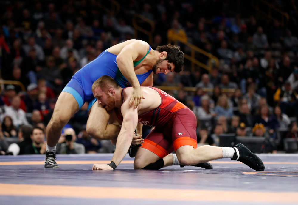 Kyle Snyder during the gold medal match of the United World Wrestling Freestyle World Cup against Azerbaijan Sunday, April 8, 2018 at Carver-Hawkeye Arena. (Brian Ray/hawkeyesports.com)