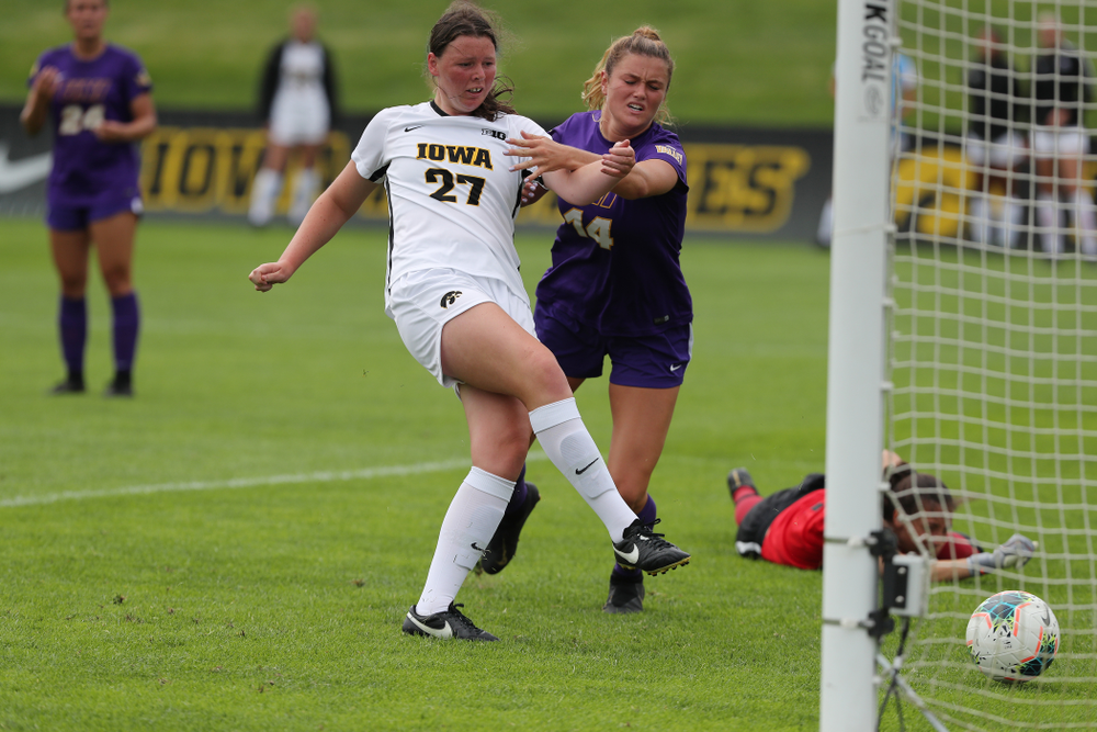 Iowa Hawkeyes forward Samantha Tawharu (27) scores during a 6-1 win over Northern Iowa Sunday, August 25, 2019 at the Iowa Soccer Complex. (Brian Ray/hawkeyesports.com)