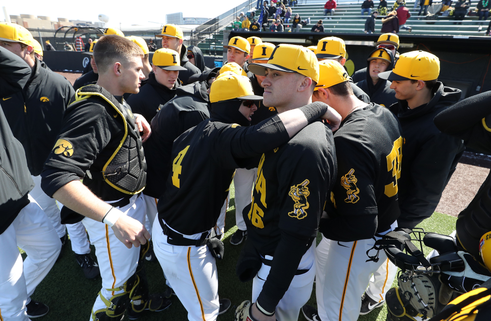 Iowa Hawkeyes infielder Mitchell Boe (4) and Tanner Wetrich (16) against California State Northridge Sunday, March 17, 2019 at Duane Banks Field. (Brian Ray/hawkeyesports.com)