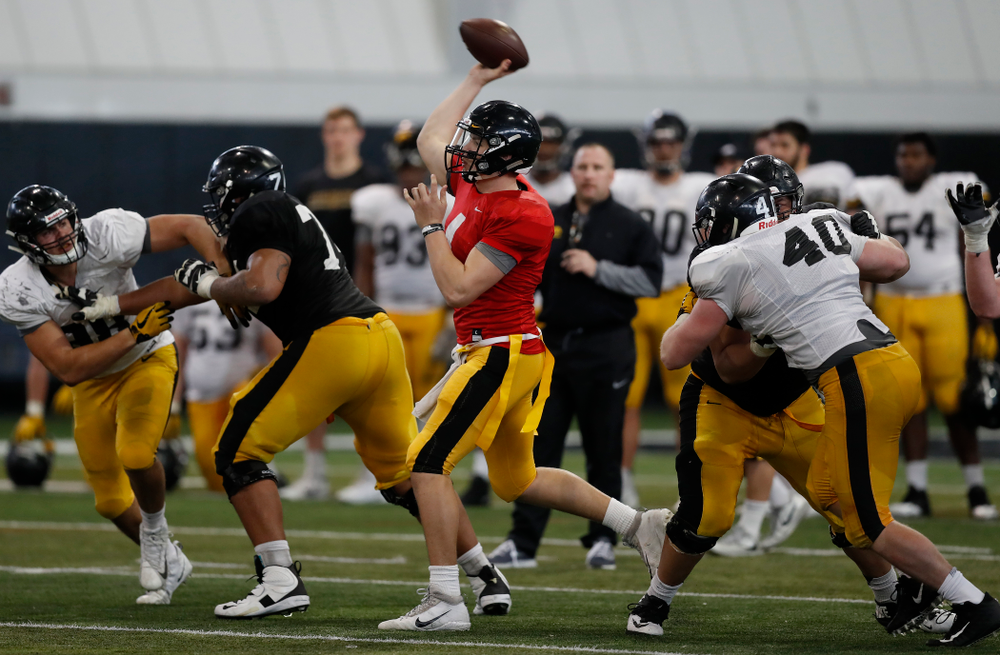 Iowa Hawkeyes quarterback Nathan Stanley (4) during spring practice Wednesday, March 28, 2018 at the Hansen Football Performance Center.  (Brian Ray/hawkeyesports.com)