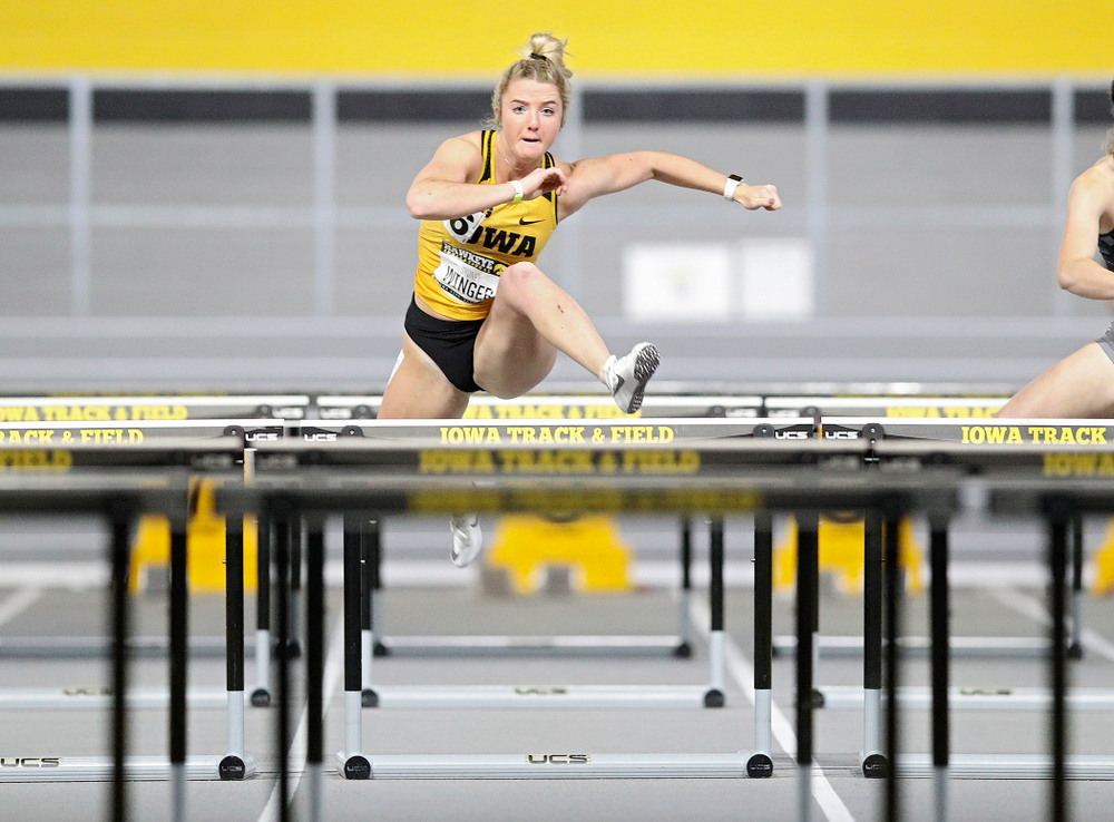 Iowa's Sydney Winger runs the women's 60 meter hurdles event during the Hawkeye Invitational at the Recreation Building in Iowa City on Saturday, January 11, 2020. (Stephen Mally/hawkeyesports.com)