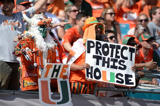 University of Miami Hurricane fans show their team spirit in a game against the Wake Forest Demon Deacons at Sun Life Stadium on October 26, 2013. ...