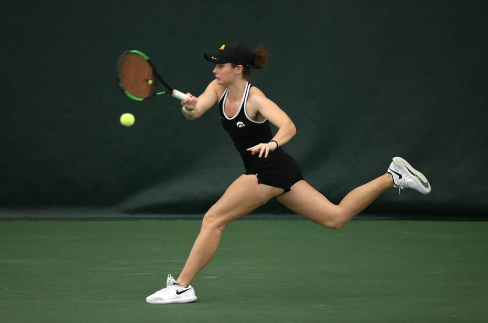 Iowa's Elise Van Heuvelen Treadwell against the Penn State Nittany Lions Sunday, February 24, 2019 at the Hawkeye Tennis and Recreation Complex. (Brian Ray/hawkeyesports.com)
