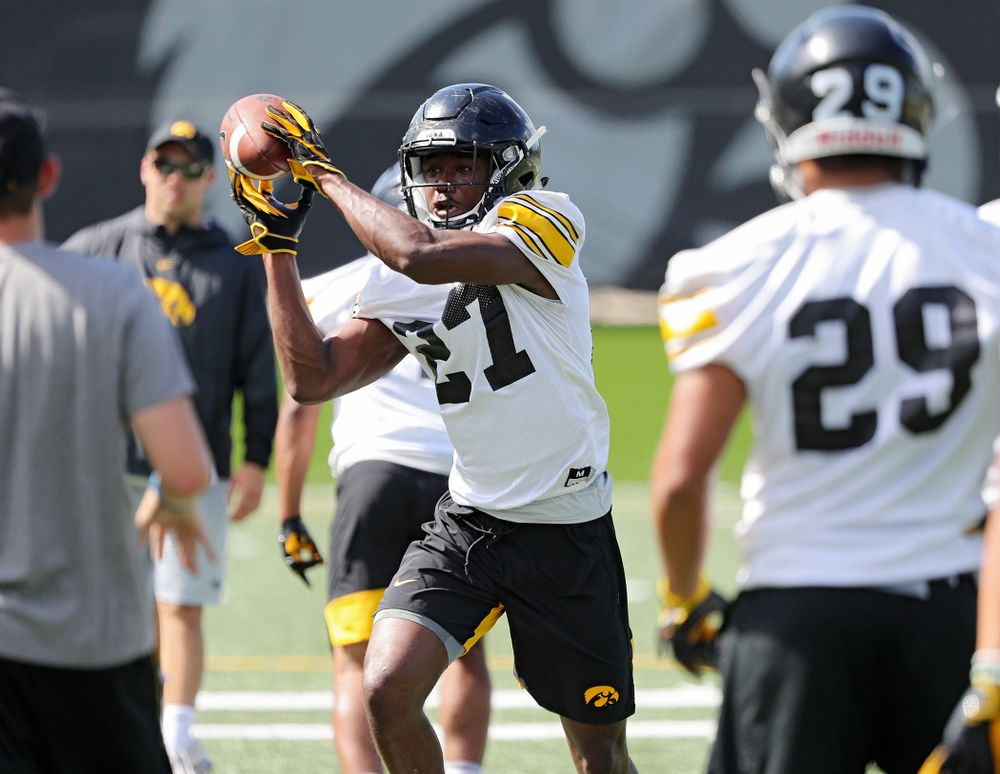Iowa Hawkeyes defensive back Jermari Harris (27) pulls in a pass as they run a drill during Fall Camp Practice No. 13 at the Hansen Football Performance Center in Iowa City on Friday, Aug 16, 2019. (Stephen Mally/hawkeyesports.com)