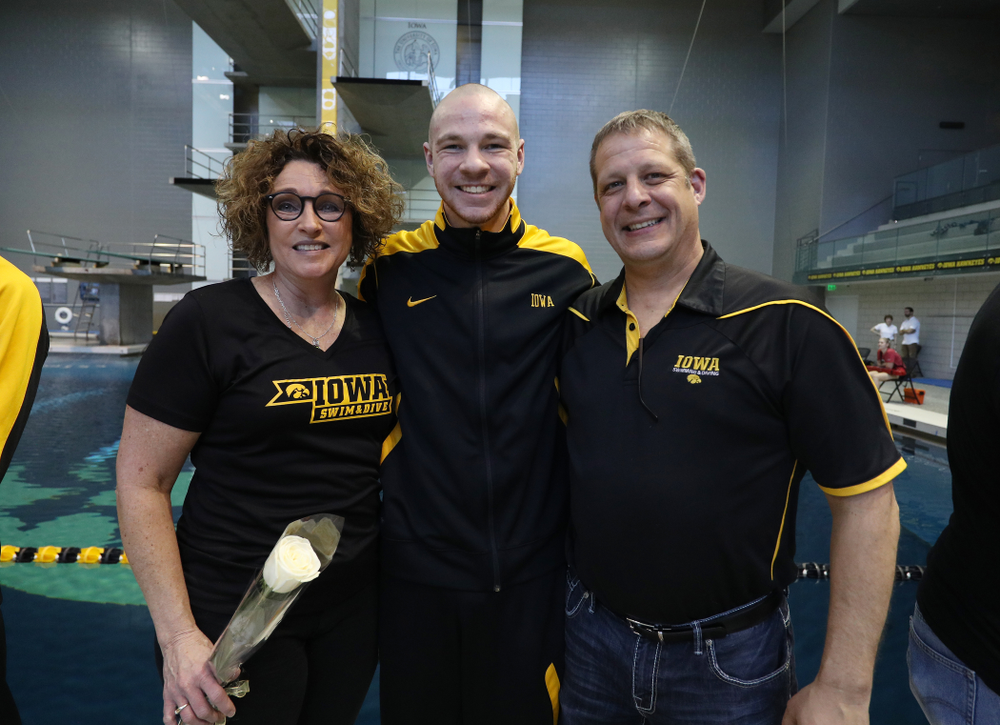 Tanner Nelson is introduced during senior day before a double dual against Wisconsin and Northwestern Saturday, January 19, 2019 at the Campus Recreation and Wellness Center. (Brian Ray/hawkeyesports.com)