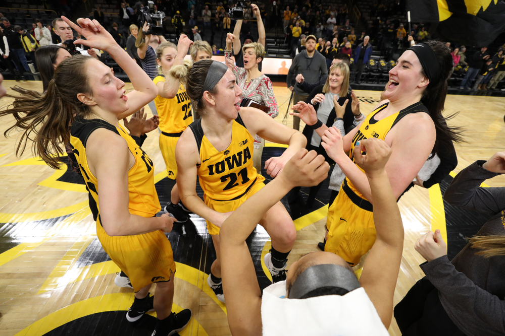 Iowa Hawkeyes forward Amanda Ollinger (43), forward Hannah Stewart (21), and forward Megan Gustafson (10) against the Michigan State Spartans Thursday, February 7, 2019 at Carver-Hawkeye Arena. (Brian Ray/hawkeyesports.com)