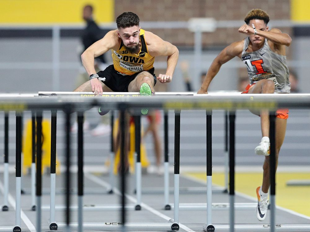 Iowa's Josh Braverman runs the men's 60 meter hurdles premier preliminary event during the Larry Wieczorek Invitational at the Recreation Building in Iowa City on Saturday, January 18, 2020. (Stephen Mally/hawkeyesports.com)