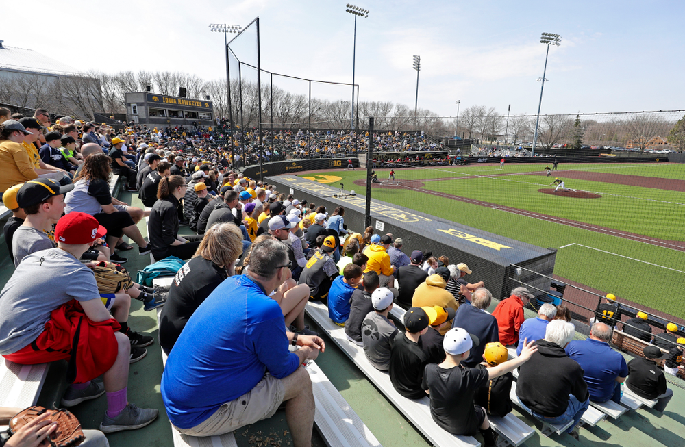 Fans look on during the second inning of their game against Rutgers at Duane Banks Field in Iowa City on Saturday, Apr. 6, 2019. (Stephen Mally/hawkeyesports.com)