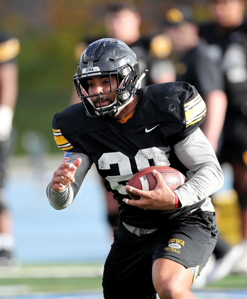 Iowa Hawkeyes running back Toren Young (28) during Holiday Bowl Practice No. 3  Tuesday, December 24, 2019 at San Diego Mesa College. (Brian Ray/hawkeyesports.com)