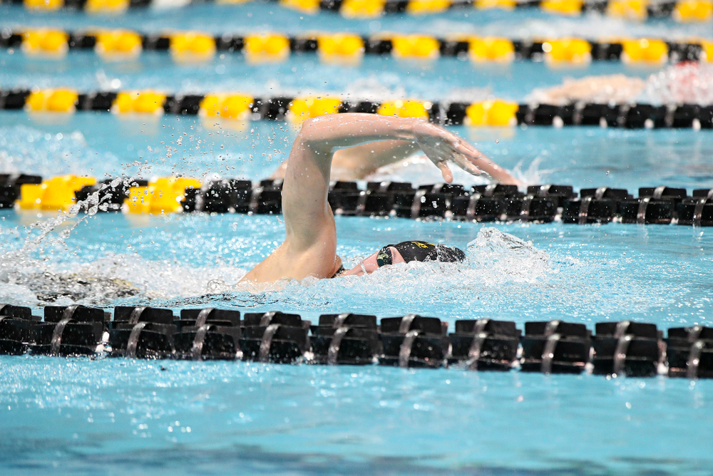 Iowa's Allyssa Fluit swims the women's 500 yard freestyle consolation finals event during the 2020 Women's Big Ten Swimming and Diving Championships at the Campus Recreation and Wellness Center in Iowa City on Thursday, February 20, 2020. (Stephen Mally/hawkeyesports.com)