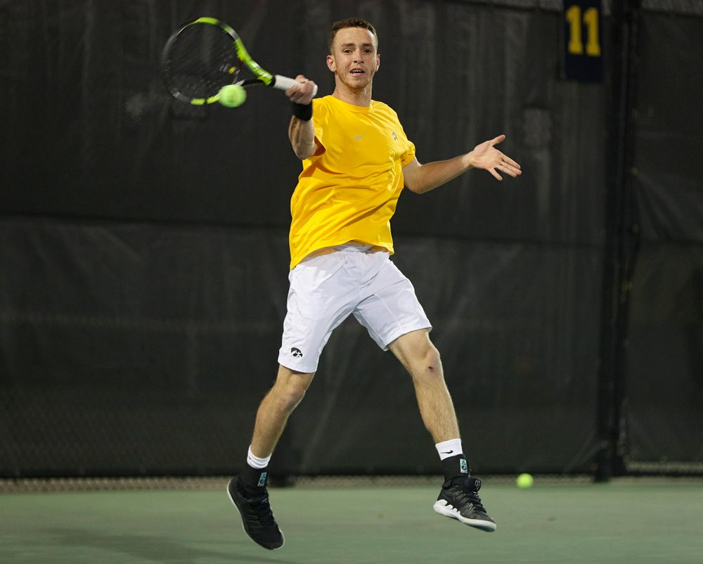 Iowa's Kareem Allaf during his match again Michigan State at the Hawkeye Tennis and Recreation Complex in Iowa City on Friday, Apr. 19, 2019. (Stephen Mally/hawkeyesports.com)