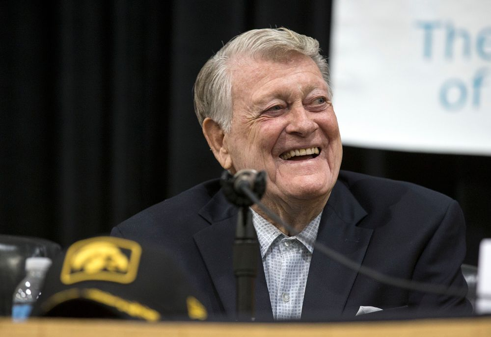 Former Hawkeye Football Head Coach Hayden Fry smiles during a panel discussion with his former quarterbacks during Fry Fest Friday, Aug. 29, 2014 in Coralville.  (Brian Ray/hawkeyesports.com)