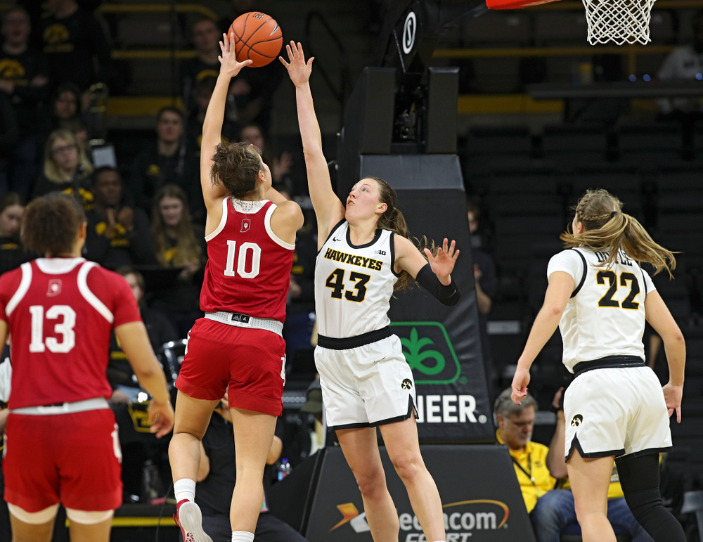 Iowa Hawkeyes forward Amanda Ollinger (43) defends on a shot during the third quarter of their game at Carver-Hawkeye Arena in Iowa City on Sunday, January 12, 2020. (Stephen Mally/hawkeyesports.com)
