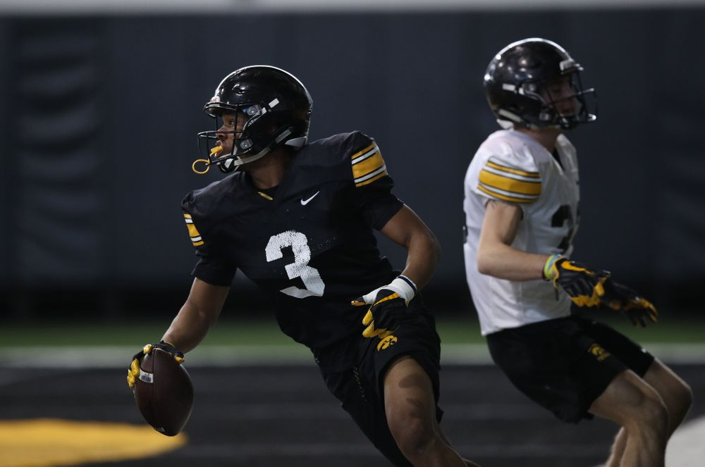 Iowa Hawkeyes wide receiver Tyrone Tracy Jr. (3) during preparation for the 2019 Outback Bowl Monday, December 17, 2018 at the Hansen Football Performance Center. (Brian Ray/hawkeyesports.com)