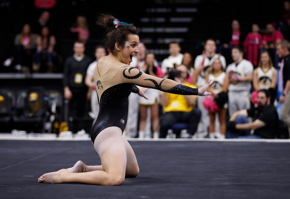 Iowa's Gina Leal competes on the floor