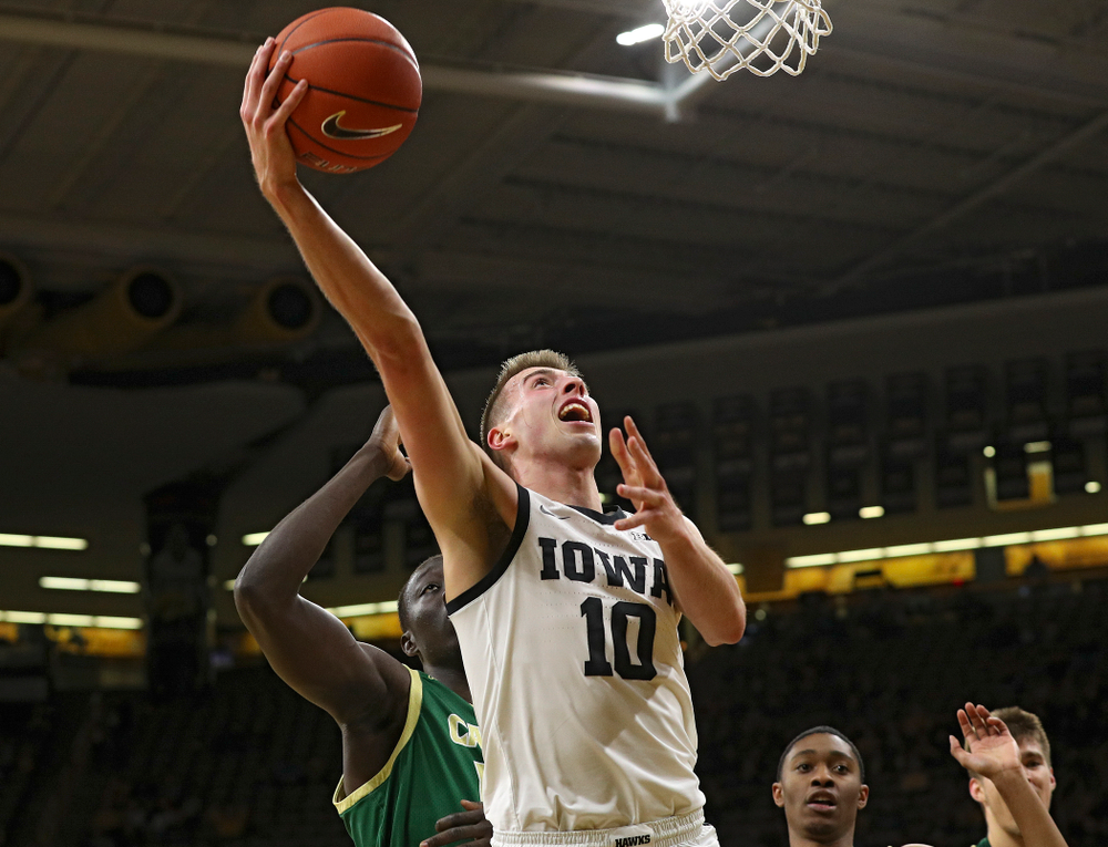 Iowa Hawkeyes guard Joe Wieskamp (10) puts up a shot during the first half of their game at Carver-Hawkeye Arena in Iowa City on Sunday, Nov 24, 2019. (Stephen Mally/hawkeyesports.com)