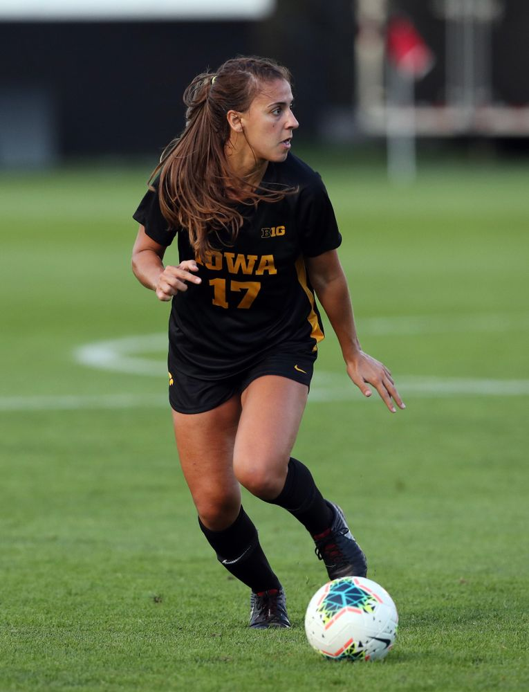 Iowa Hawkeyes defender Hannah Drkulec (17) during a 2-1 victory over the Iowa State Cyclones Thursday, August 29, 2019 in the Iowa Corn Cy-Hawk series at the Iowa Soccer Complex. (Brian Ray/hawkeyesports.com)
