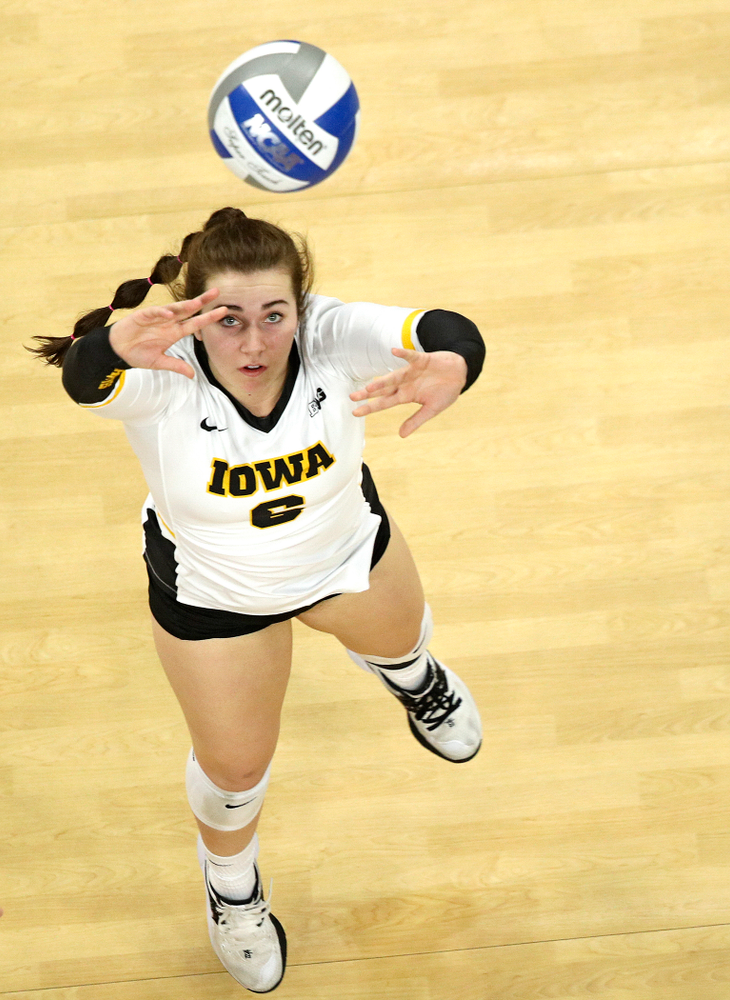 Iowa's Emma Lowes (6) sets the ball during the second set of their match at Carver-Hawkeye Arena in Iowa City on Saturday, Nov 30, 2019. (Stephen Mally/hawkeyesports.com)