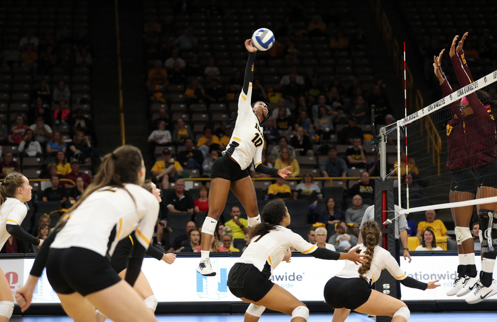 Iowa Hawkeyes outside hitter Griere Hughes (10) against the Minnesota Golden Gophers Wednesday, October 2, 2019 at Carver-Hawkeye Arena. (Brian Ray/hawkeyesports.com)