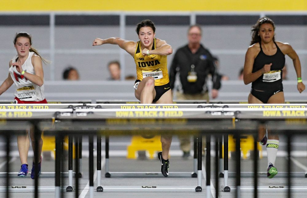 Iowa's Jenny Kimbro competes in the women's 60 meter hurdles prelims event during the Jimmy Grant Invitational at the Recreation Building in Iowa City on Saturday, December 14, 2019. (Stephen Mally/hawkeyesports.com)