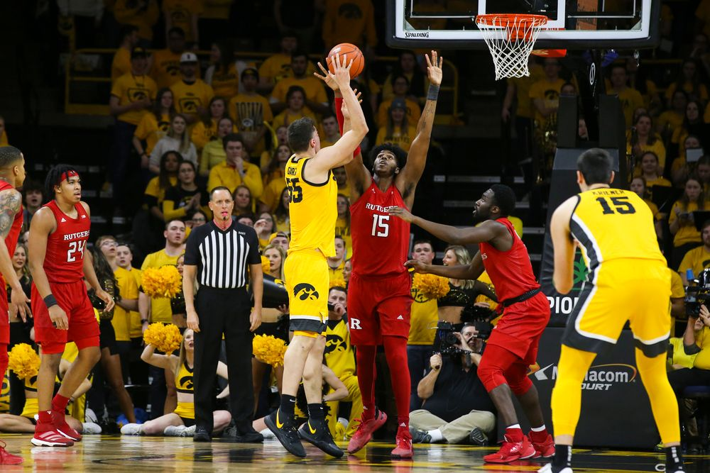 Iowa Hawkeyes center Luka Garza (55) attempts a shot during the Iowa men's basketball game vs Rutgers on Wednesday, January 22, 2020 at Carver-Hawkeye Arena. (Lily Smith/hawkeyesports.com)