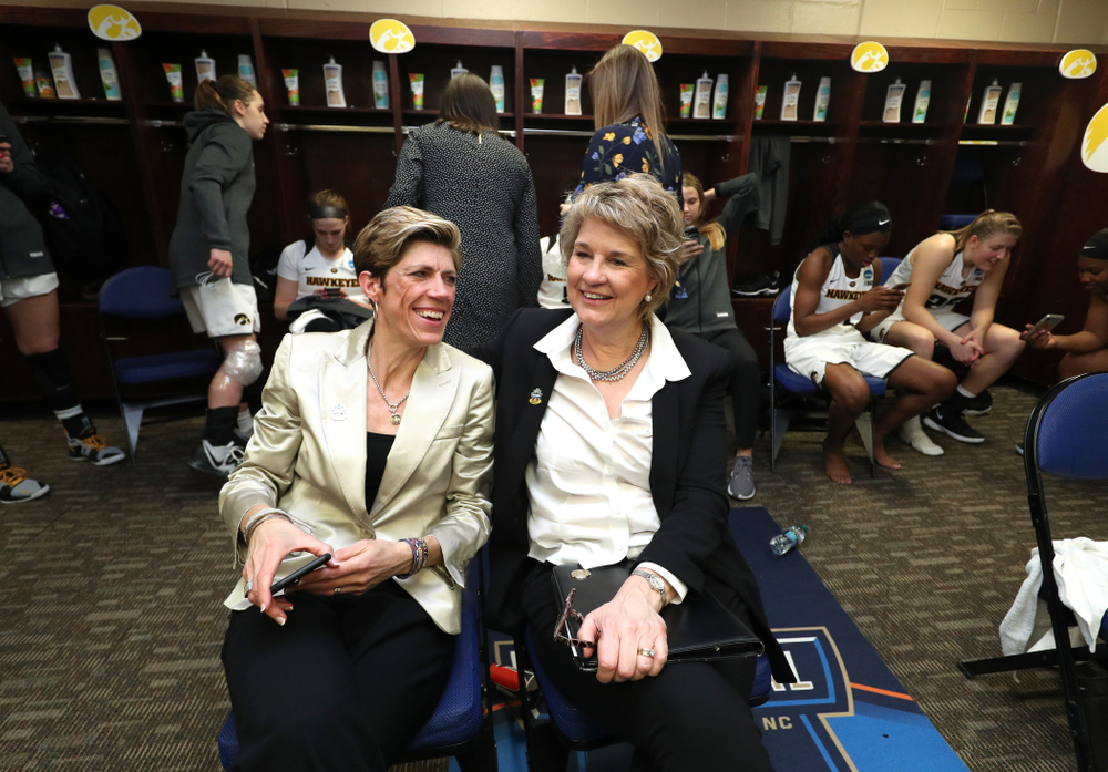 Iowa Hawkeyes associate head coach Jan Jensen and head coach Lisa Bluder against the NC State Wolfpack in the regional semi-final of the 2019 NCAA Women's College Basketball Tournament Saturday, March 30, 2019 at Greensboro Coliseum in Greensboro, NC.(Brian Ray/hawkeyesports.com)