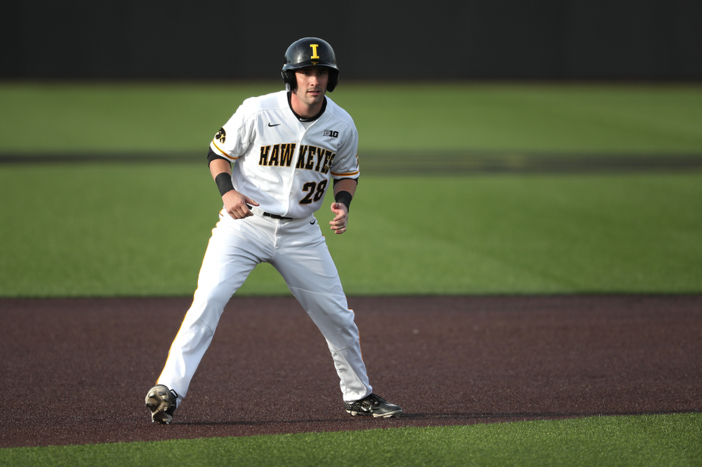 Iowa Hawkeyes Chris Whelan (28) during game one against UC Irvine Friday, May 3, 2019 at Duane Banks Field. (Brian Ray/hawkeyesports.com)