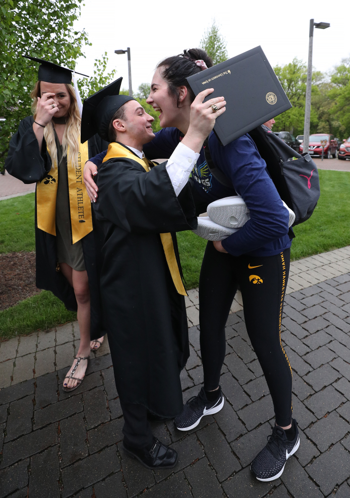 Iowa MenÕs Gymnast Jake Brodarzon and WomenÕs BasketballÕs Megan Gustafson during the College of Liberal Arts and Sciences spring commencement Saturday, May 11, 2019 at Carver-Hawkeye Arena. (Brian Ray/hawkeyesports.com)