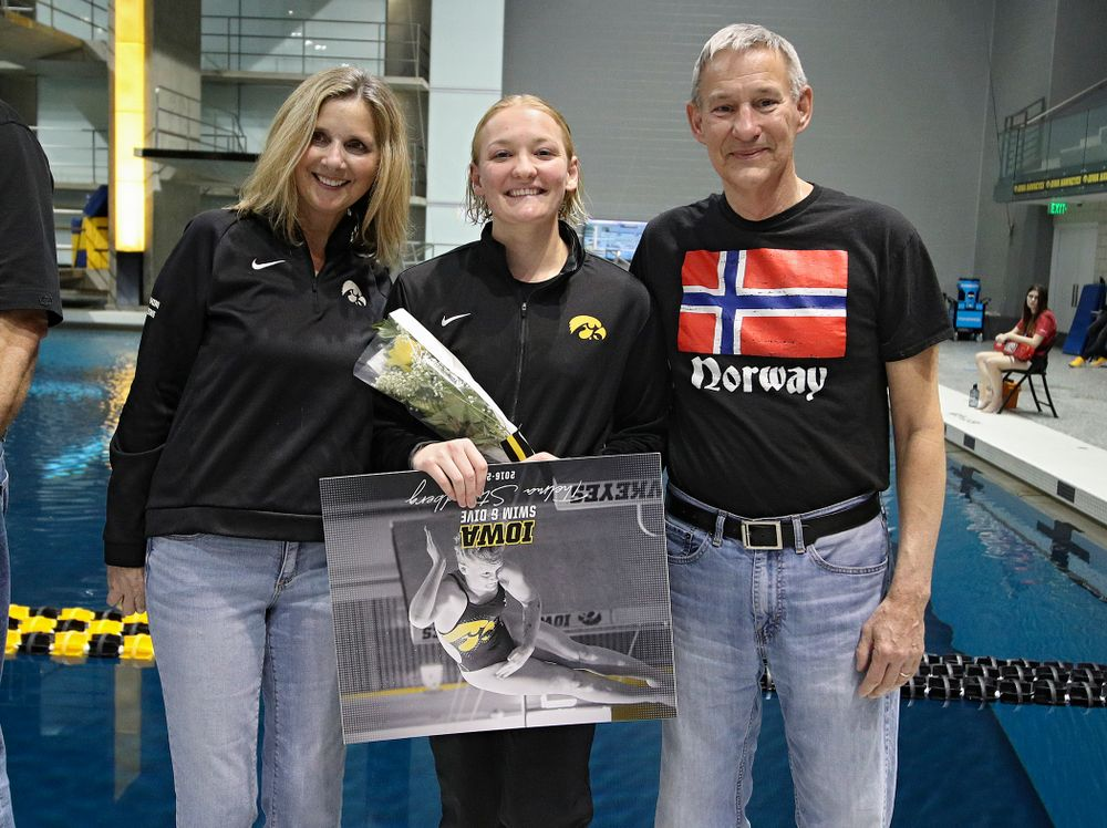 Iowa's Thelma Strandberg is honored on senior day before their meet at the Campus Recreation and Wellness Center in Iowa City on Friday, February 7, 2020. (Stephen Mally/hawkeyesports.com)
