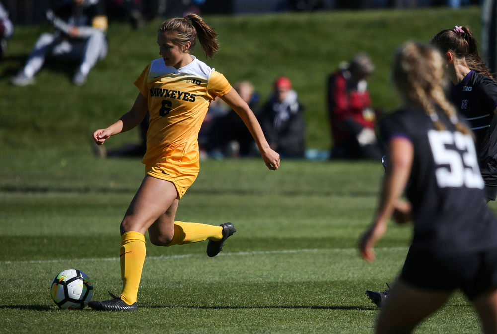 Iowa Hawkeyes midfielder Isabella Blackman (6) dribbles the ball during a game against Northwestern at the Iowa Soccer Complex on October 21, 2018. (Tork Mason/hawkeyesports.com)