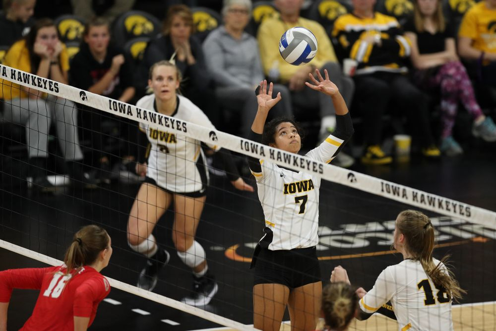 Iowa Hawkeyes setter Gabrielle Orr (7) against the Ohio State Buckeyes Saturday, November 24, 2018 at Carver-Hawkeye Arena. (Brian Ray/hawkeyesports.com)