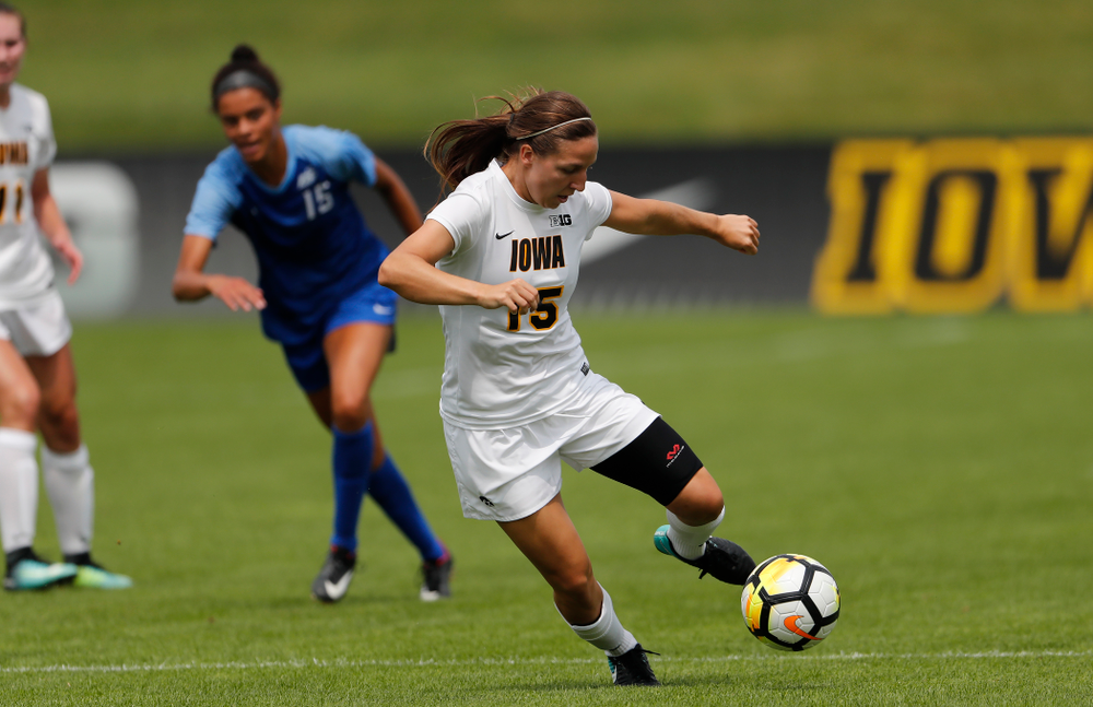 Iowa Hawkeyes Rose Ripslinger (15) against the Creighton Bluejays  Sunday, August 19, 2018 at the Iowa Soccer Complex. (Brian Ray/hawkeyesports.com)