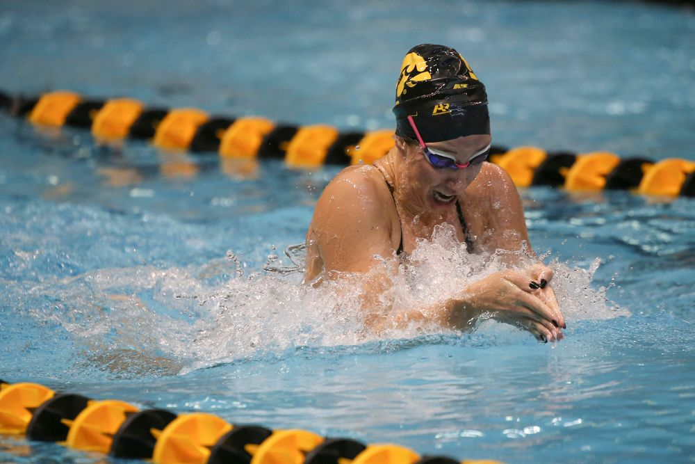 Iowa's Zoe Mekus swims the 100-yard breaststroke during the Iowa swimming and diving meet vs Notre Dame and Illinois on Saturday, January 11, 2020 at the Campus Recreation and Wellness Center. (Lily Smith/hawkeyesports.com)