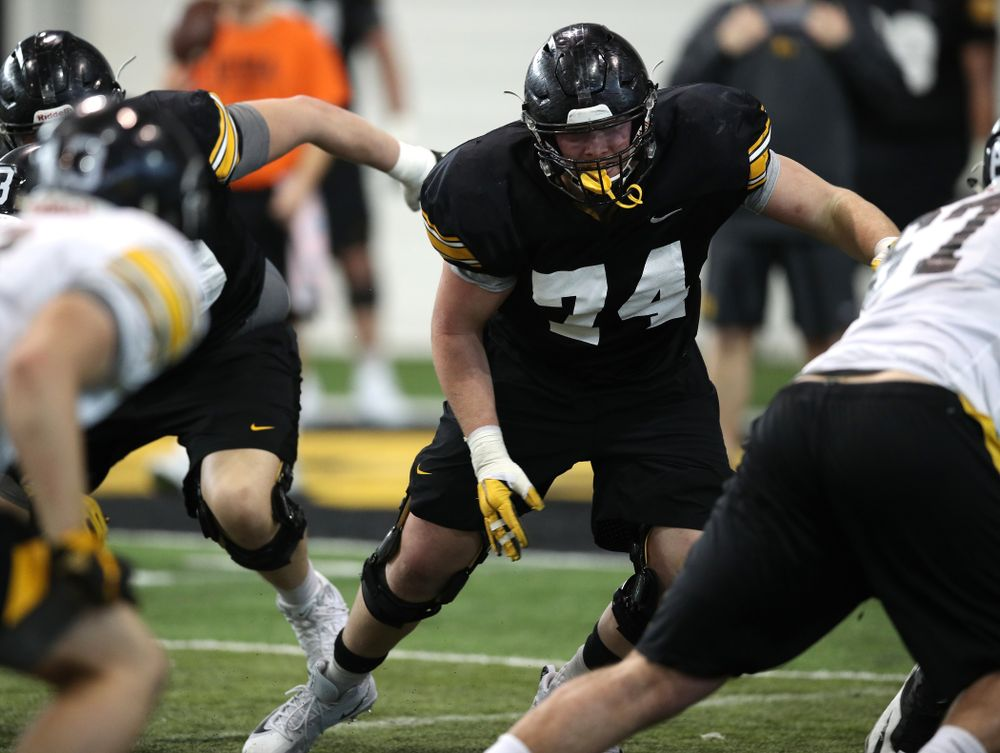 Iowa Hawkeyes defensive lineman Austin Schulte (74) during preparation for the 2019 Outback Bowl Monday, December 17, 2018 at the Hansen Football Performance Center. (Brian Ray/hawkeyesports.com)