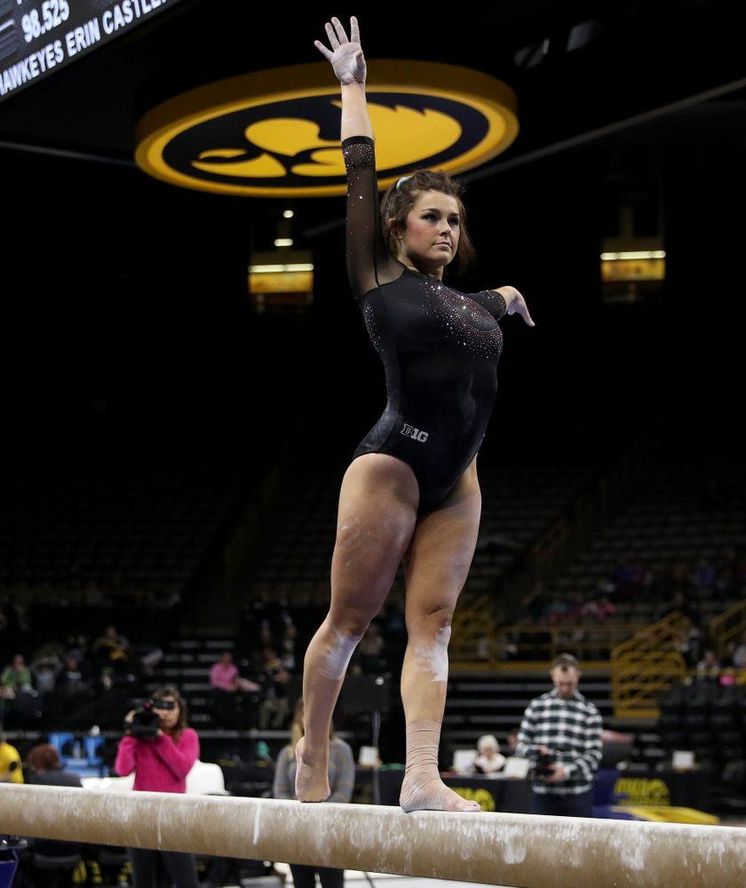 Iowa's Erin Castle competes on the beam against Michigan Friday, February 14, 2020 at Carver-Hawkeye Arena. (Brian Ray/hawkeyesports.com)