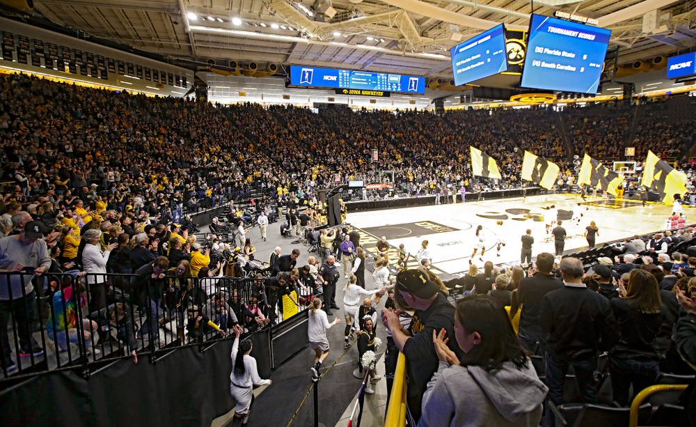 The Iowa Hawkeyes take the court for their second round game in the 2019 NCAA Women's Basketball Tournament at Carver Hawkeye Arena in Iowa City on Sunday, Mar. 24, 2019. (Stephen Mally for hawkeyesports.com)