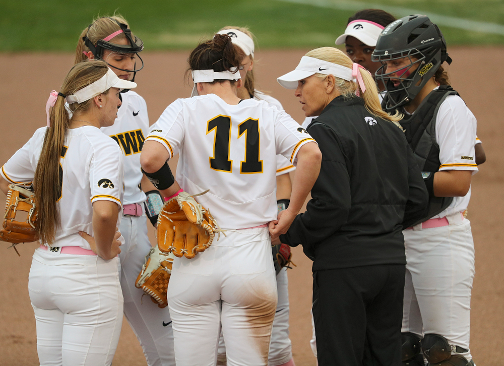 Iowa head coach Renee Gillispie talks with her infield during the second inning of their game against Iowa State at Pearl Field in Iowa City on Tuesday, Apr. 9, 2019. (Stephen Mally/hawkeyesports.com)