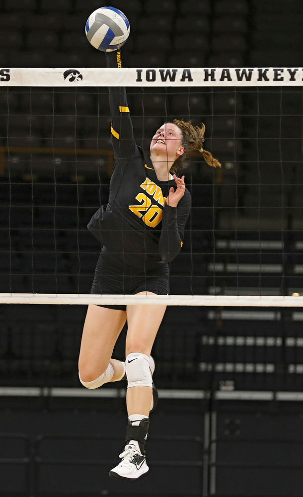 Iowa's Edina Schmidt (20) during the third set of the Black and Gold scrimmage at Carver-Hawkeye Arena in Iowa City on Saturday, Aug 24, 2019. (Stephen Mally/hawkeyesports.com)