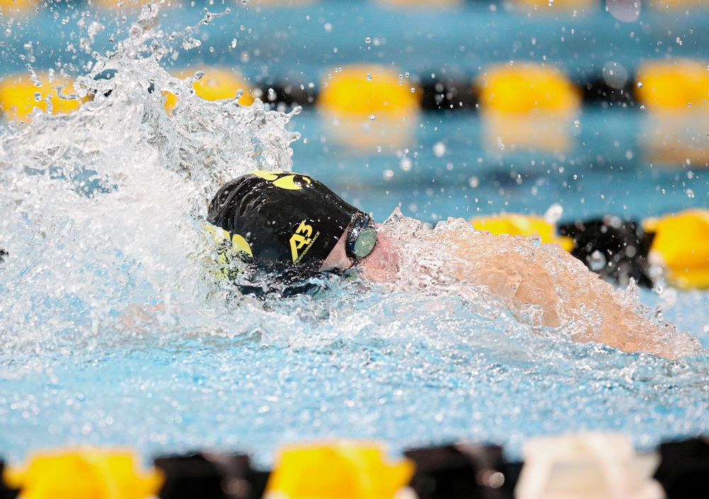 Iowa's Hannah Burvill swims the freestyle section in the women's 400 yard medley relay event during their meet at the Campus Recreation and Wellness Center in Iowa City on Friday, February 7, 2020. (Stephen Mally/hawkeyesports.com)