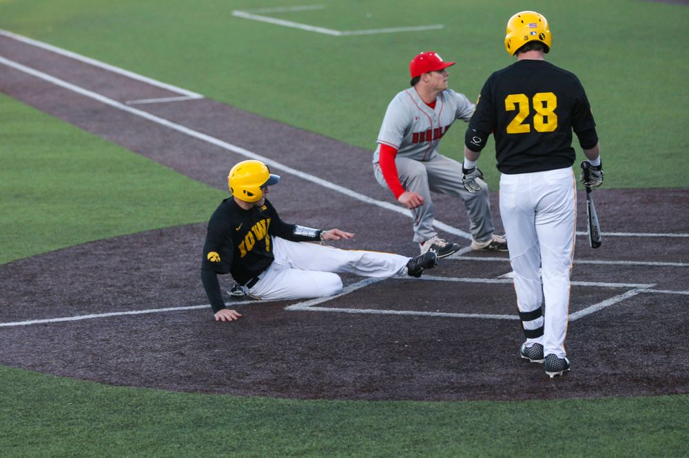 Iowa catcher Austin Martin (34) at the game vs. Bradley on Tuesday, March 26, 2019 at (place). (Lily Smith/hawkeyesports.com)