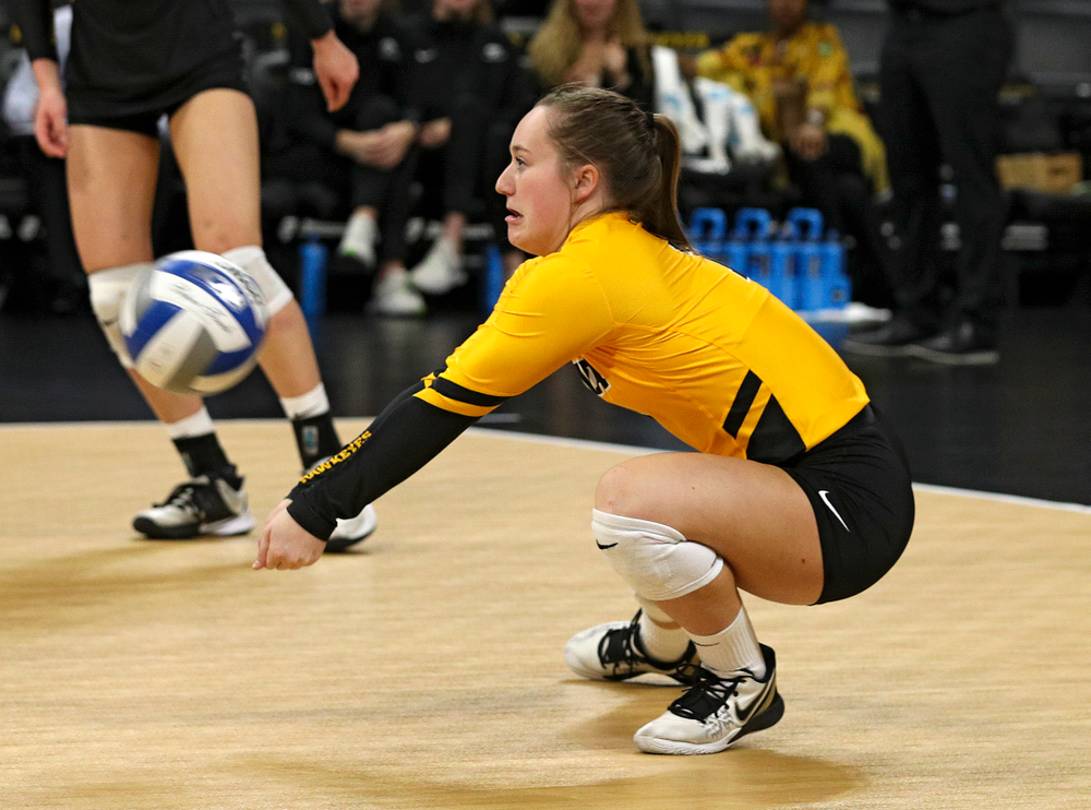 Iowa's Joslyn Boyer (1) gets a dig during the first set of their match at Carver-Hawkeye Arena in Iowa City on Friday, Nov 29, 2019. (Stephen Mally/hawkeyesports.com)