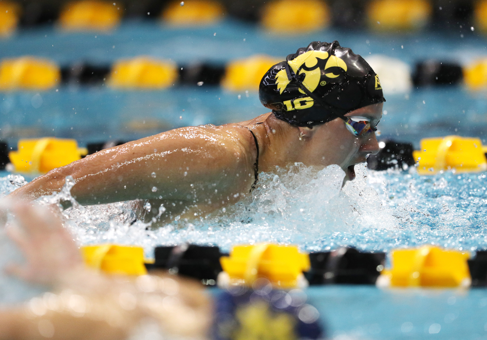 IowaÕs Christina Kaufman competes in the 200 yard butterfly against Notre Dame and Illinois Saturday, January 11, 2020 at the Campus Recreation and Wellness Center.  (Brian Ray/hawkeyesports.com)