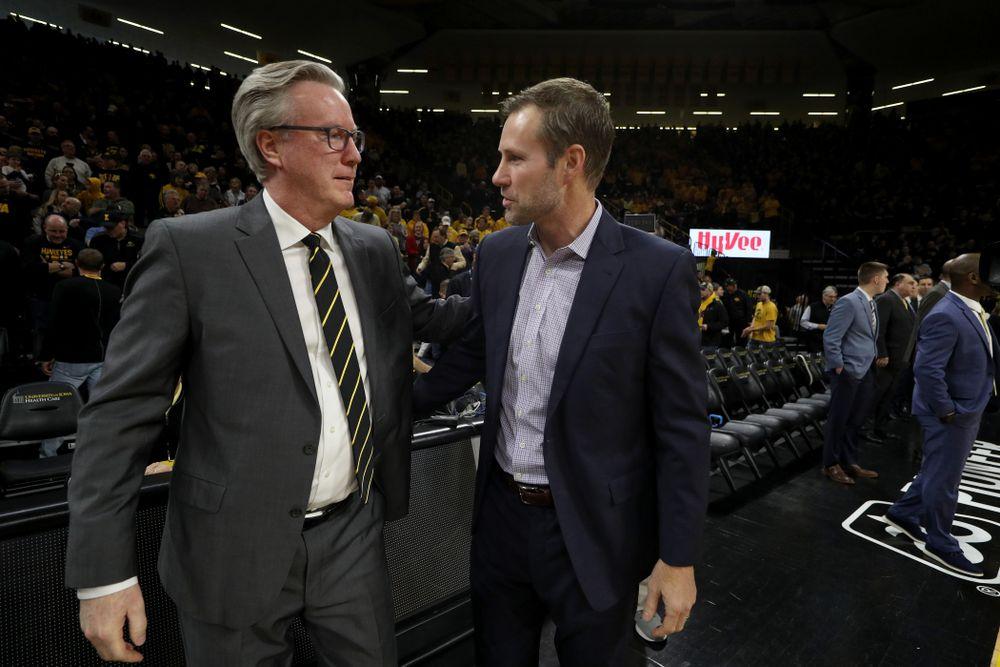 Iowa Hawkeyes head coach Fran McCaffery and Nebraska Head Coach Fred Hoiberg Saturday, February 8, 2020 at Carver-Hawkeye Arena. (Brian Ray/hawkeyesports.com)